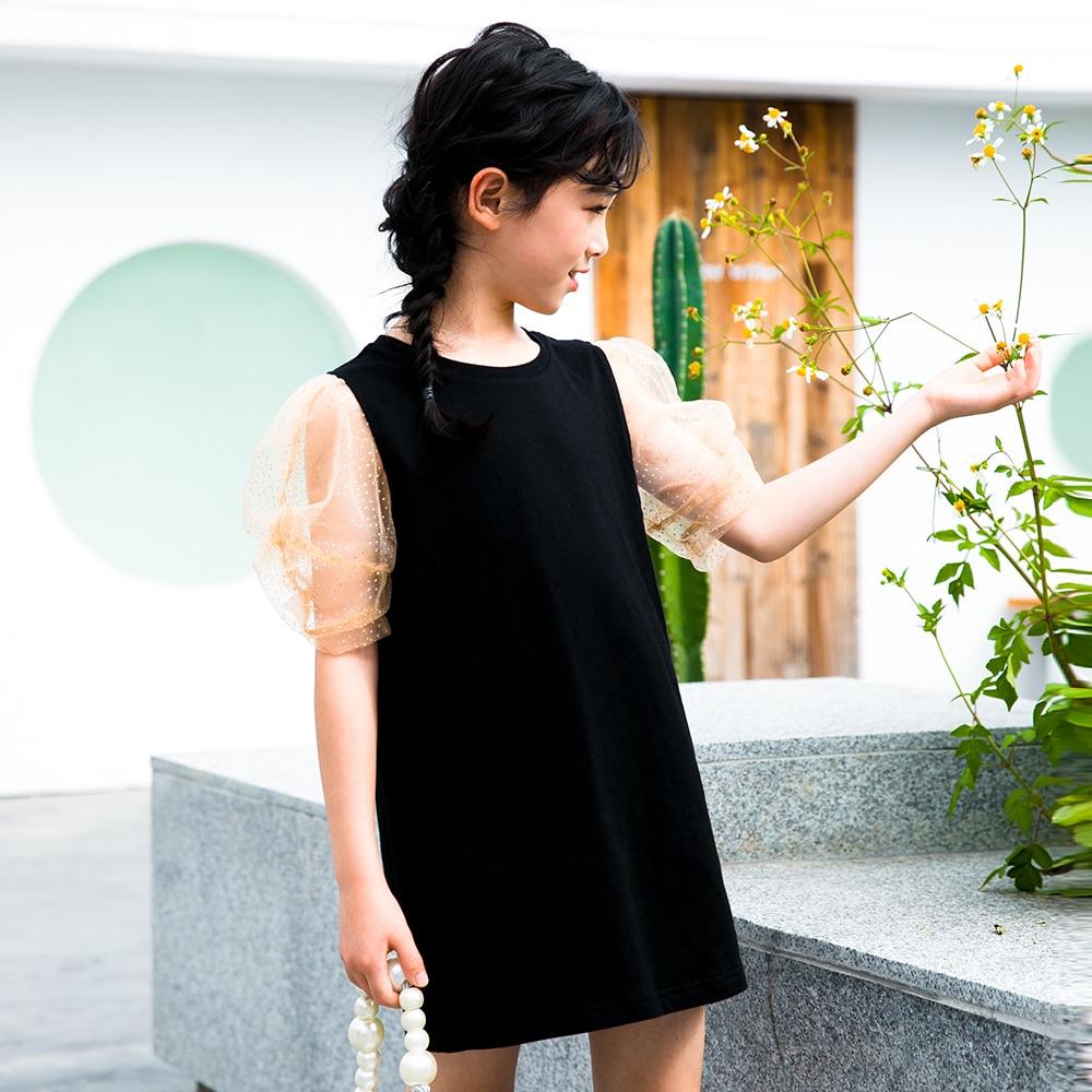 2021 Summer Dress Girl Clothes Cotton Black Puff Sleeve Teens Girls Dresses Kids Clothing Princess T Shirts Dress Casual Tops