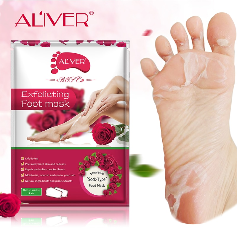 Aliver-mascarilla Exfoliante para pies, calcetines de tacón para pedicura, renovación y exfoliación...