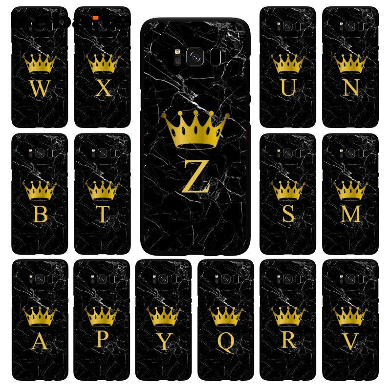 Babaite nome personalizado letra monograma de mármore preto ouro coroa phonecase para samsung s20 s10e s20 s7 s9 s8 s10plus s6 s10lite s5