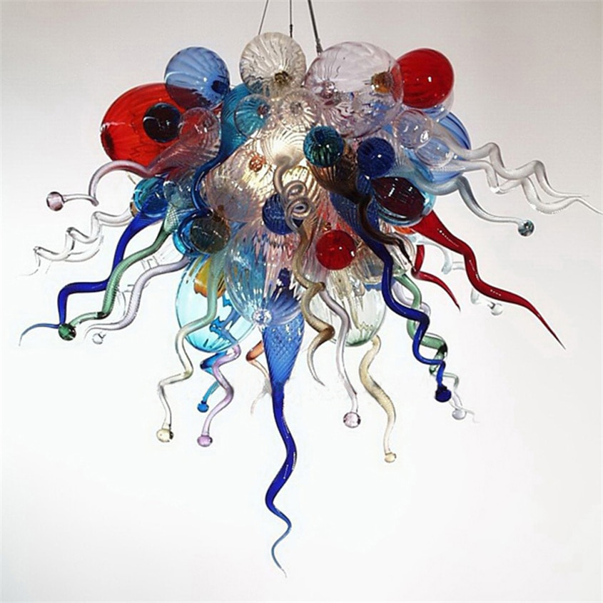 chandelier light fixtures luxury white glass living room light dale chihuly hand blown glass art led chandeliers lighting Modern Led Chandeliers Colorful Lamps 24X24 Inches Hand Blown Glass Chandelier Light Art Chain Pendant Lights Store Decorative