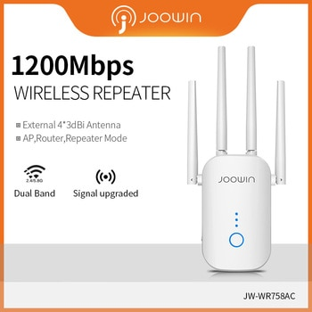Joowin High Speed 1200Mbps Wifi Repeater Dual Band 2.4G&5.8G Wireless Wifi Extender Use 4*3 dBi Antennas Long Signal JW-WR758AC