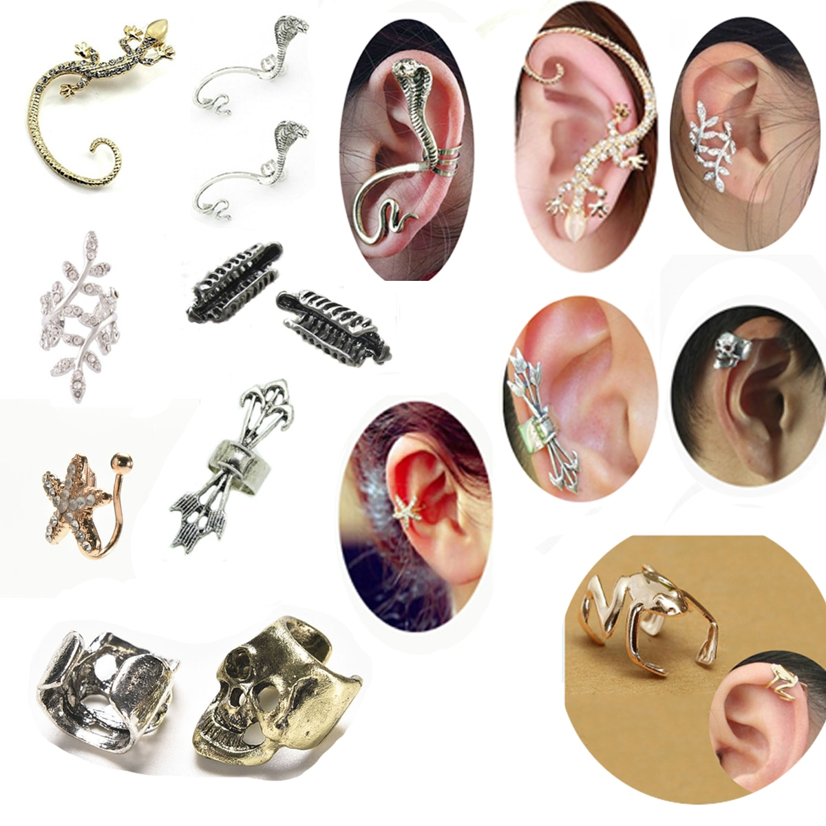 1 Pza Unisex Punk diseño sencillo plateado Color esqueleto dedo clip de oreja de mano oreja manguito