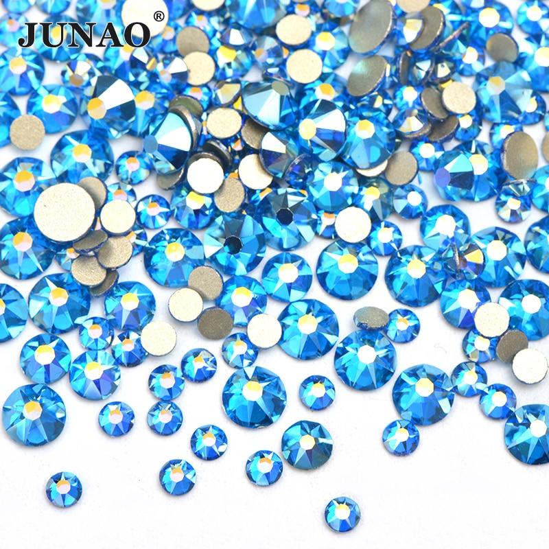 JUNAO Mix Size SS10 SS16 SS20 Capri azul AB cristal Strass redondo plano trasero cristal Strass para decoración de uñas pegatinas DIY Strass gemas