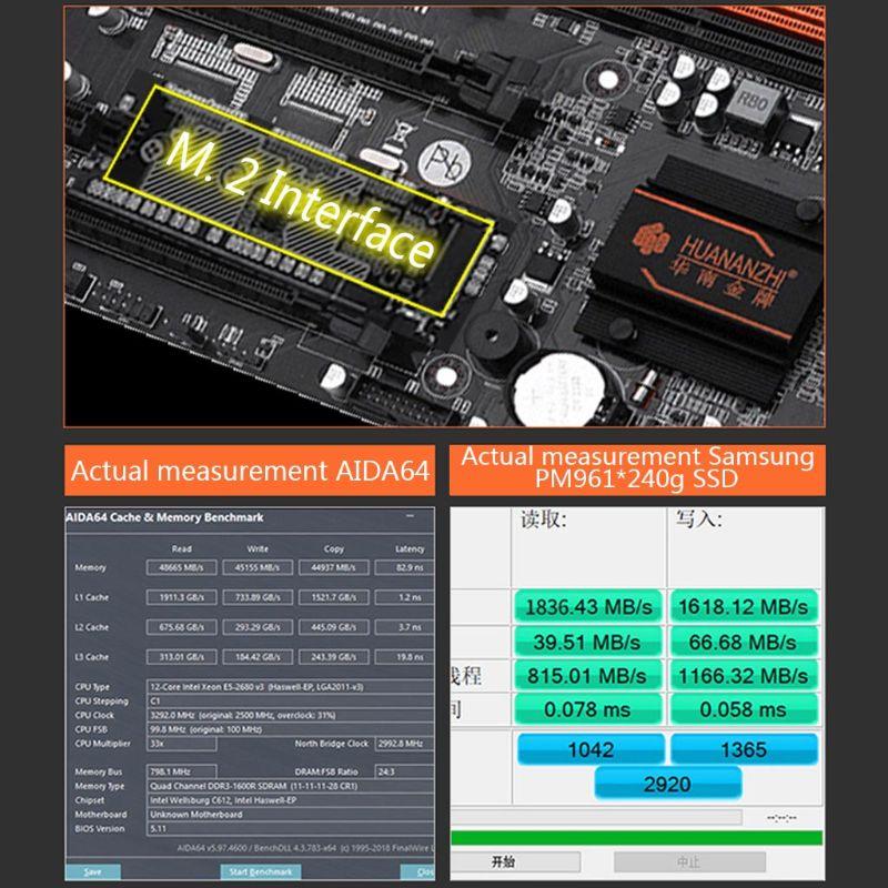 H7JA Huananzhi X79-8D Motherboard Dual CPU LGA 2011 E5 2689 2670 V2 DDR3 1333/1600/1866MHz 256GB M.2 NVME SATA3 USB3.0