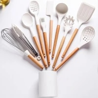 silicone kitchenware cooking utensils set non stick cookware spatula shovel egg beaters wooden handle kitchen cooking tool set