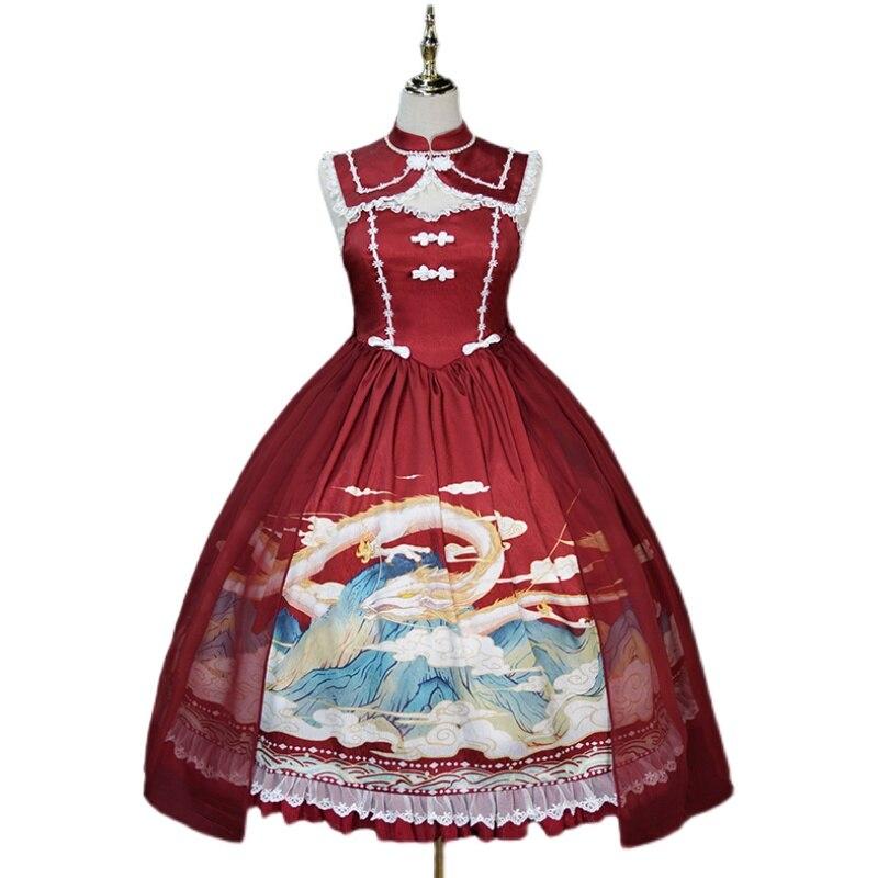 النمط الصيني لوليتا فستان التنين مطبوعة هان يوم اللباس