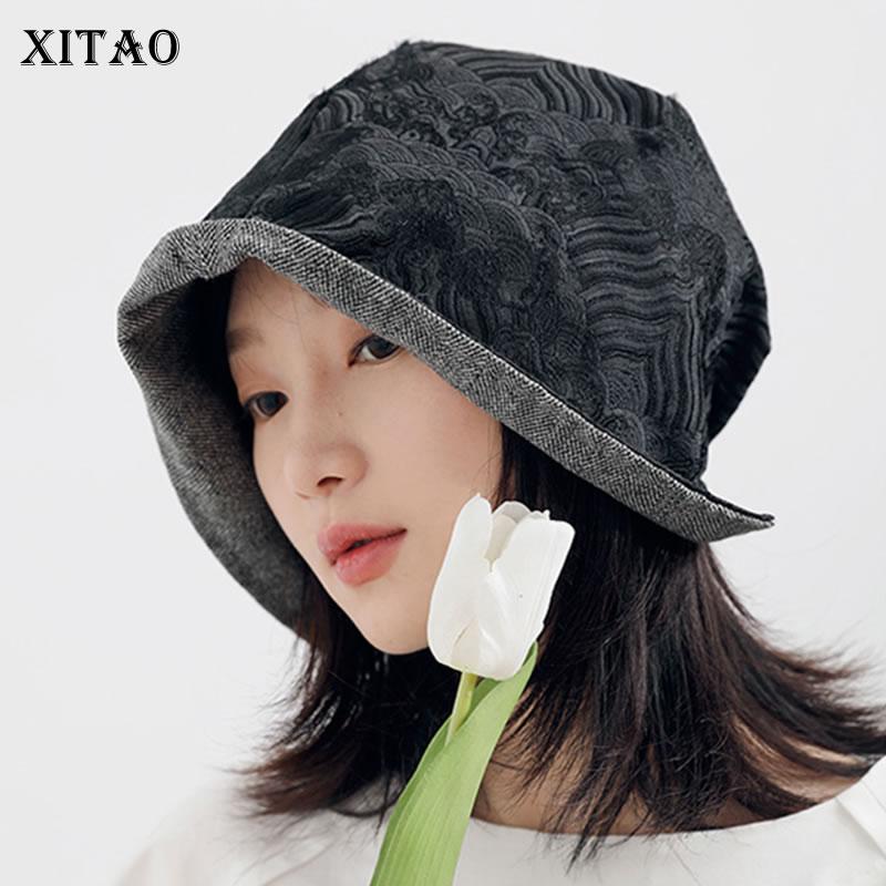 XITAO طباعة عادية دلو القبعات النساء 2021 الخريف جديد وصول شخصية الموضة كل مباراة النمط الصيني قبعة الاتجاه GWJ0934