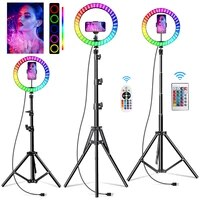 10 inch rgb video light 16colors rgb ring lamp for phone with remote camera studio large light led usb ring 26cm for youtuber
