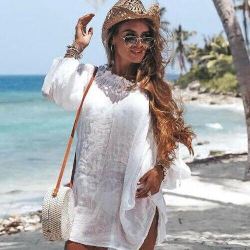 Mujer traje de baño Bikini cubrir ropa de playa Kaftan verano suelto Casual Mini vestido