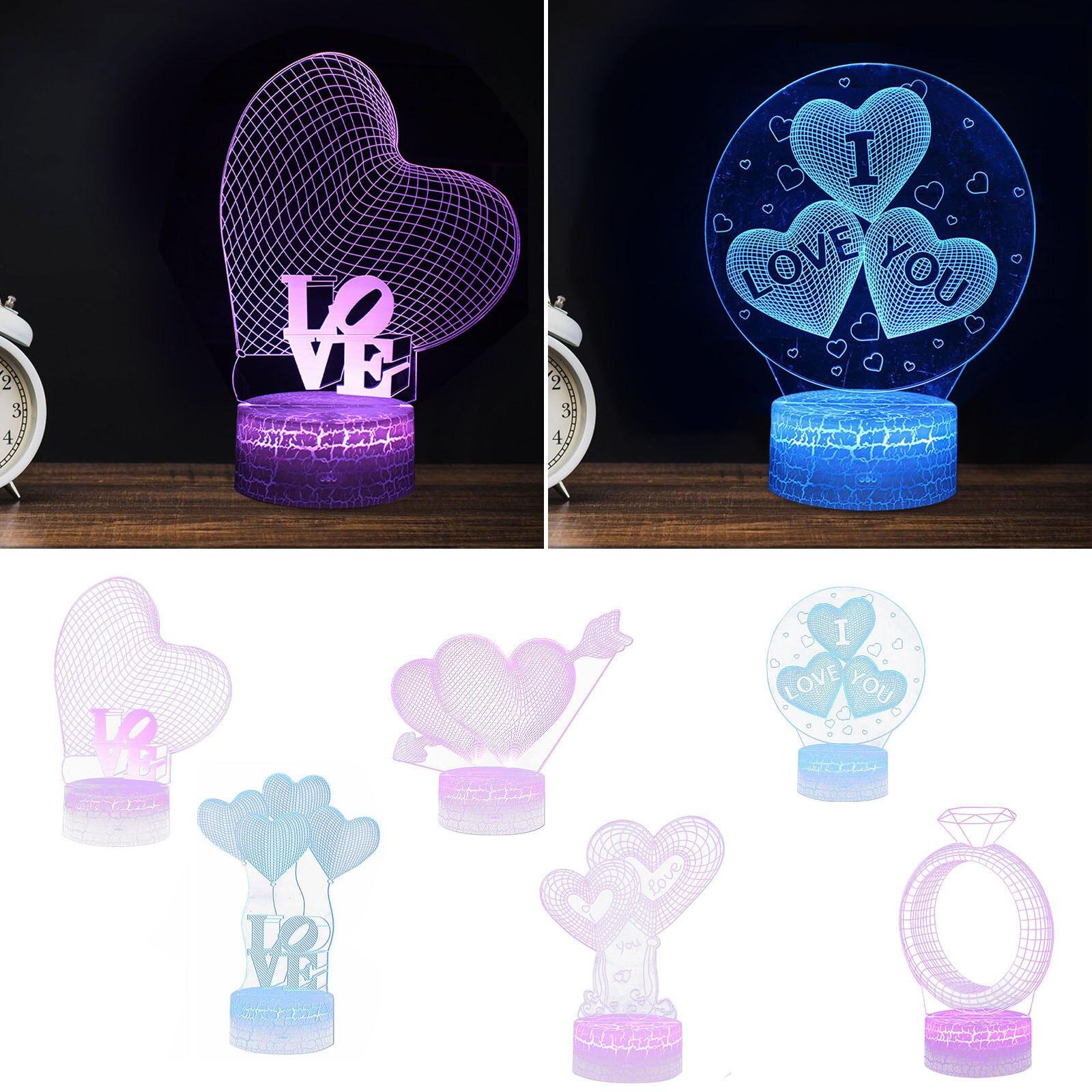 Luces nocturnas románticas para el Día de San Valentín, LED nocturno 3D,...