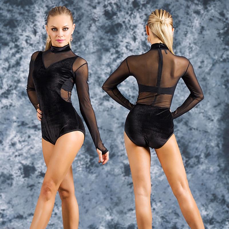 Female Latin Dance Practice Black Bodysuit For Women Sexy Mesh Long Sleeve Velvet Stand Collar Standard Samba Dance Tops DL5217