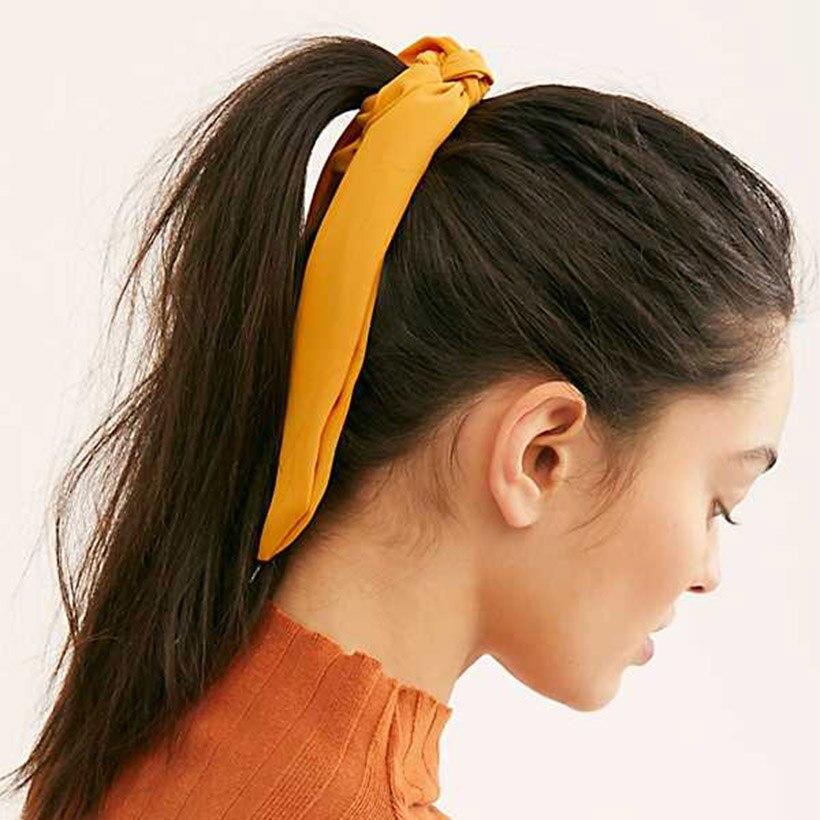 LEVAO mujeres colores caramelo nudo cinta Simple elegante elástico bandas para el cabello Scrunchies banda de goma diadema niñas accesorios para el cabello