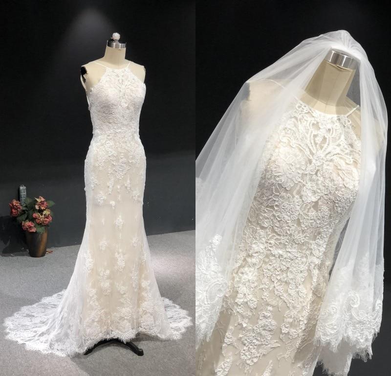 فستان زفاف حورية البحر من الدانتيل العاجي عالي الجودة ، طول الأرض مع ذيل صغير ، حجاب ، مجموعة جديدة 2021