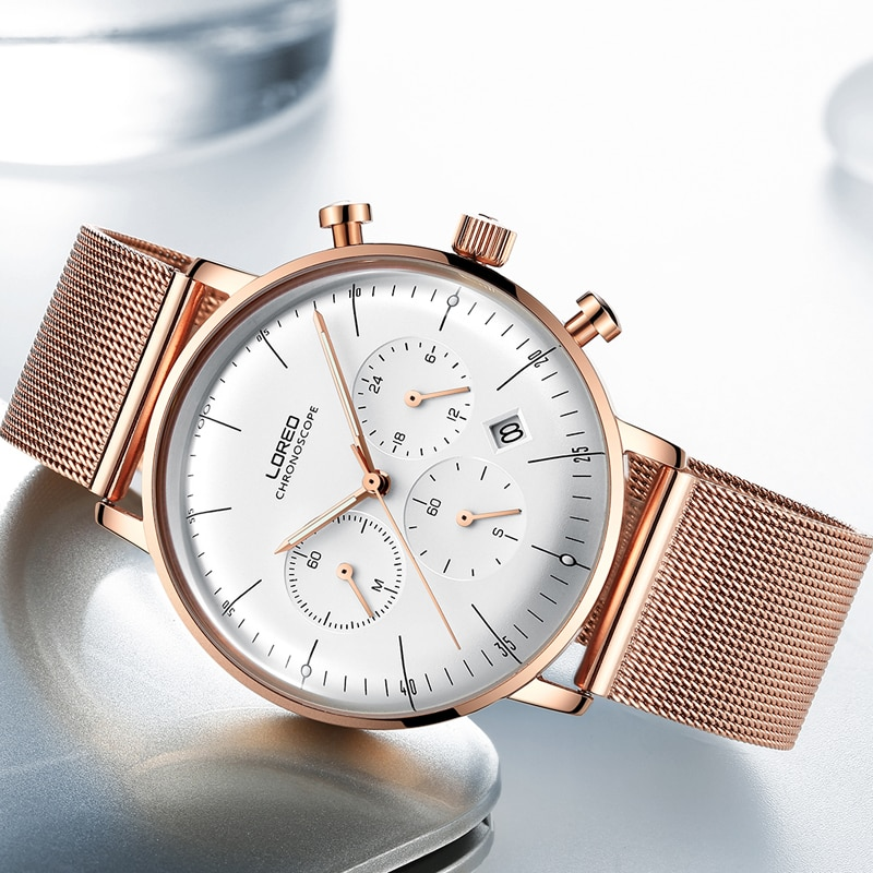 LOREO Mens Watches Top Luxury Brand 316L Steel 50M Waterproof Sport Quartz Watch Men Date Clock Chronograph Relogio Masculino enlarge