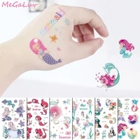 little mermaid tattoo stickers happy birthday party decorations kids temporary tattoo sticker baby shower mermaid party supplies