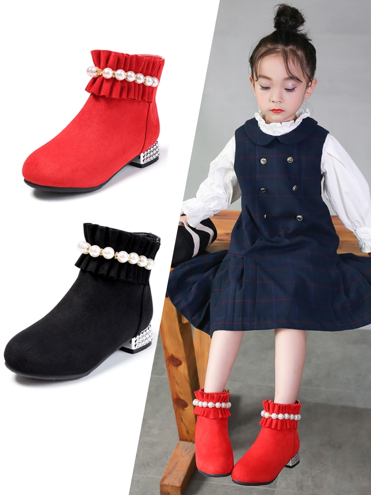 Winter Boots for Girls of High Heel Princess 4-12 Years Old Girls Boots Children Martin Boots enlarge