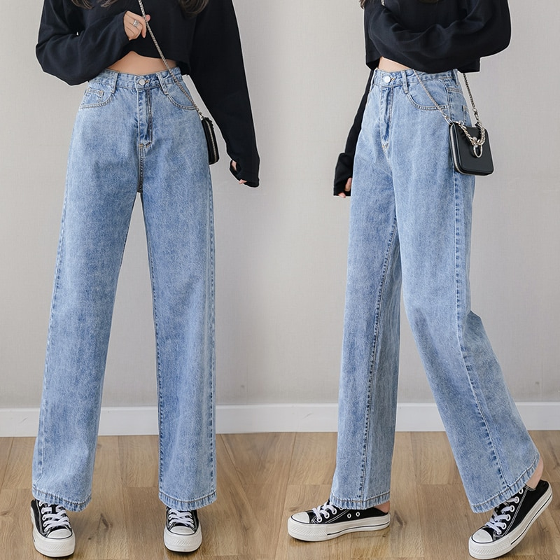 wide leg jeans for women blue loose pants high waist casual large size straight pants boyfriend straight mom jeans streetwear 2021 Spring and Autumn Wide Leg Jeans Women's Blue Loose Pants High Waist Casual Large Size Straight Pants Mom Jeans Streetwear