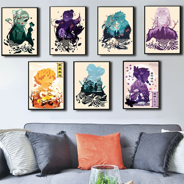 Japanese Anime Demon Slayer Poster Picture Art Home Decor HD Quality Canvas Painting Bedroom Living Kids Room Sofa Wall Decor 2