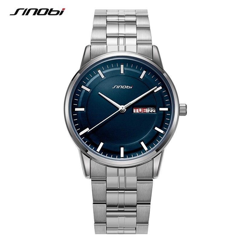 SINOBI High Quality Men's Watch Brand Luxury Business Quartz Wrist watch Fashion Stainless Steel Sports Clock Relogio Masculino