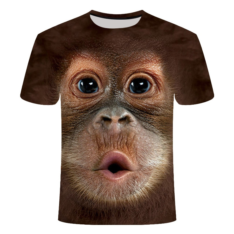 T-shirts 3D men women 2020 Summer Printed Animal Monkey T-shirt Short Sleeve Funny Design Casual Top