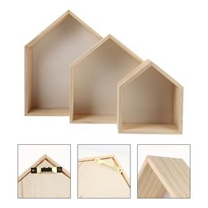 3pcs Wood House Shape Storage Racks Multifunction Wall Shelves for Home