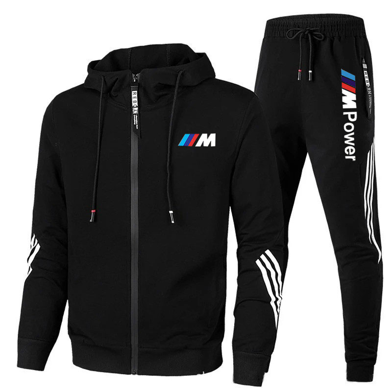 2021New BMW M Men's Football Sets Zipper Hoodie+Pants Two Pieces Casual Tracksuit Male Sportswear Gy