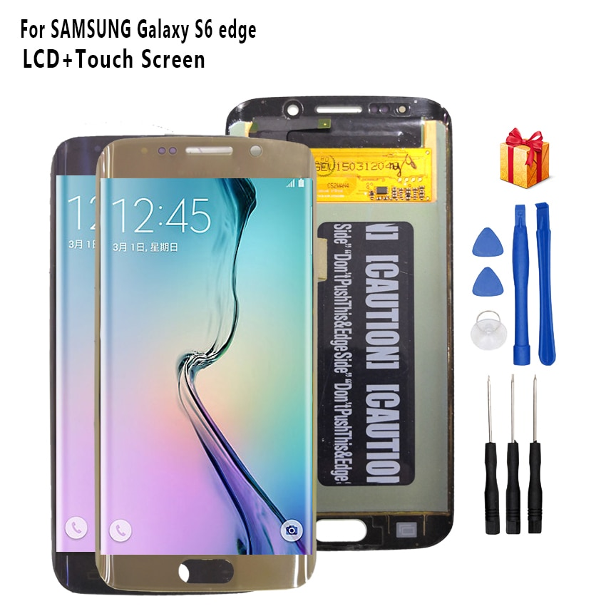 Original para SAMSUNG Galaxy S6 edge pantalla LCD G925 G925I G925F Digitalizador de pantalla táctil piezas de teléfono pantalla OLED herramientas gratis