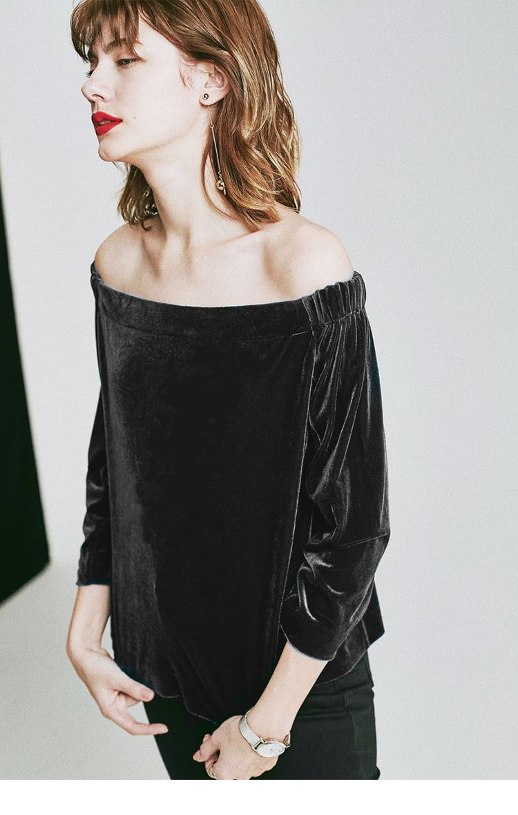 Spring Style European and American Women's Clothing plus Size Top off-Neck Strapless Sexy Long Sleev
