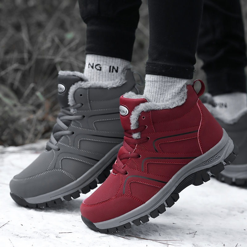 2021 зимние однотонные дышащие плюшевые хлопковые туфли обувь для прогулок и скалолазания охотничья обувь на шнуровке унисекс спортивные уличные теплые походные ботинки
