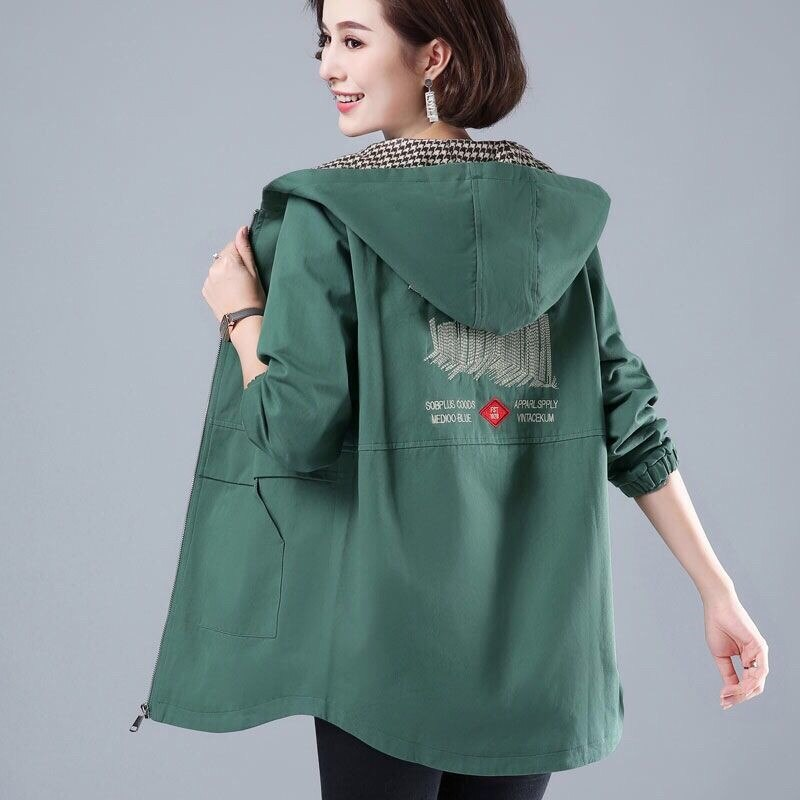 2021 New Spring Autumn Women Jacket Long Sleeve Hooded Female Windbreaker Loose Basic Coat Casual Ou