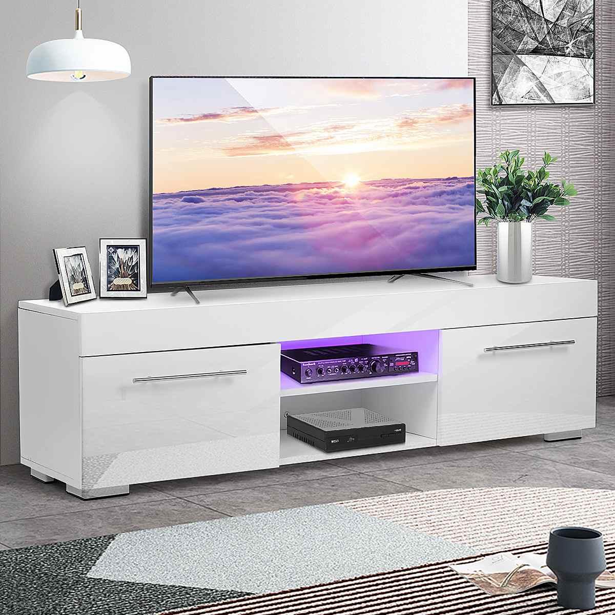 51 alto brillo Rectangular TV gabinete moderno LED TV Stands Sala muebles TV soporte con 2 cajones muebles del hogar