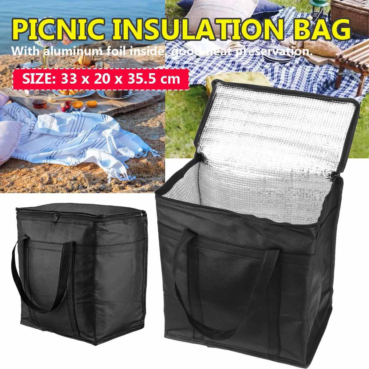 Bolsa aislante para el almuerzo de 23L, bolsa de Picnic plegable portátil, bolso térmico para alimentos, bolsa aislante para el transporte de bebidas