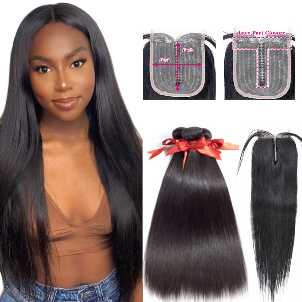 Straight Bundles with Closure Middle Part Lace Closure T part 4x4 Lace Closure With Weaves Human Hair Extension For Women