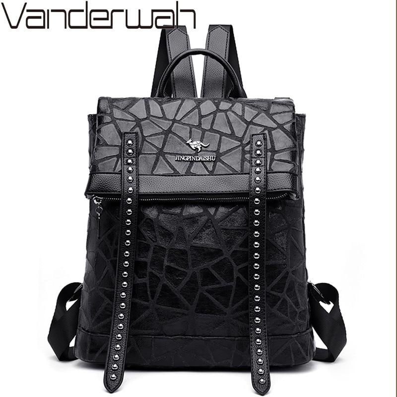 Multifunction Women Leather Backpacks Vintage Female School Bags Anti theft Backpack For Girls Shoulder Bag Travel Bags Mochilas