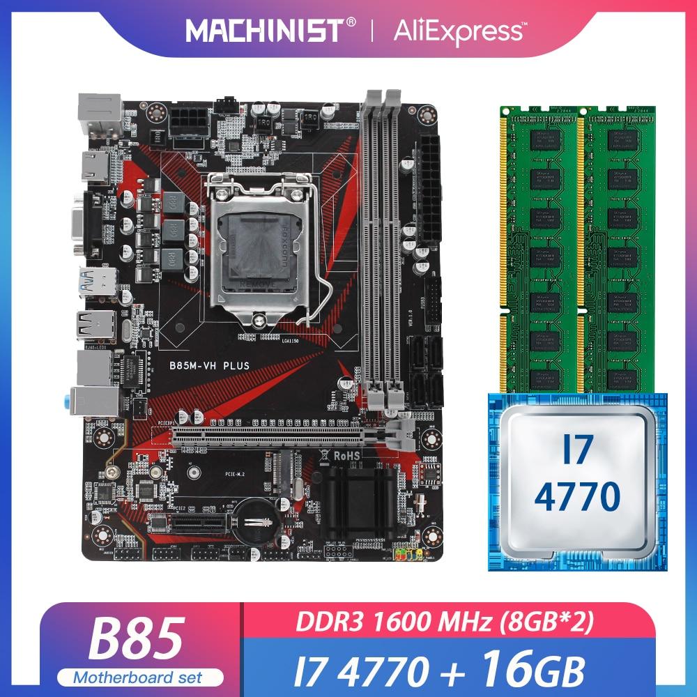 B85 LGA1150 اللوحة مجموعة عدة مع إنتل I7-4770 المعالج 16G(2*8G) ddr3 ram مايكرو-ATX M.2 NVME SSD USB3.0 B85M-VH زائد