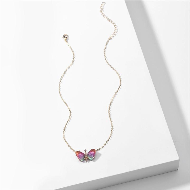 Collar con colgante de piedras de ópalo, mariposas e insectos para mujer, collar colorido de Lucite, joyería de moda