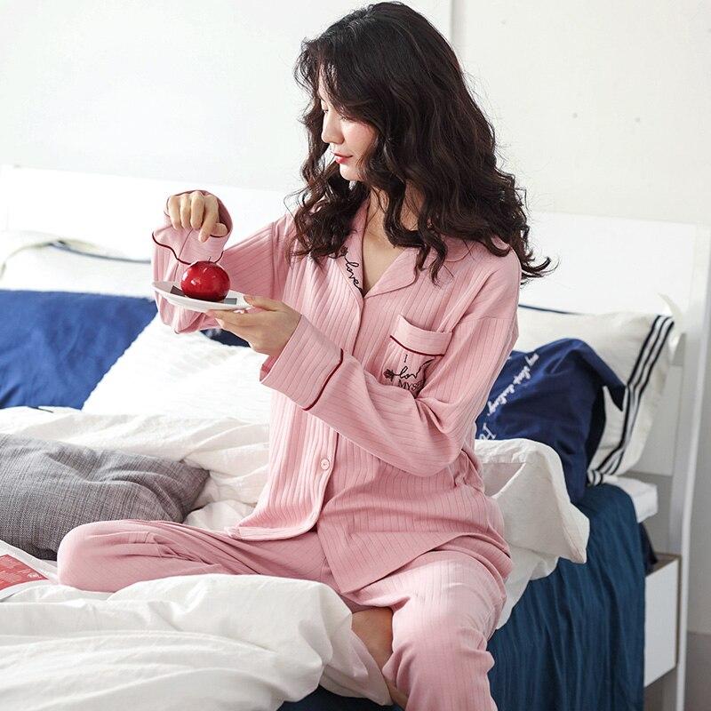 بيجاما شتوية من القطن الخالص للنساء ، طباعة وردية ، أكمام طويلة ، ملابس نوم ، ملابس منزلية ، 2021
