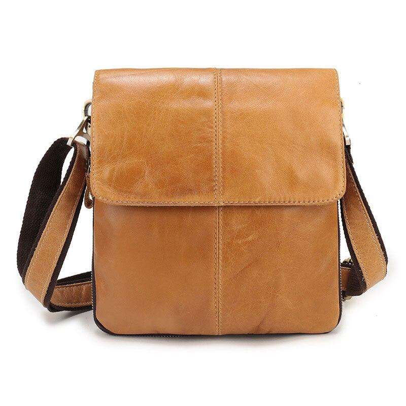 Male Genuine Leather Crossbody Bag for Men High Quality Real Leather Messenger Shoulder Bag Men's Travel Handbag for Tablet
