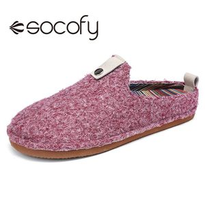 SOCOFY Women Solid Color Home Slippers Metal Buckle Cotton Slip On Casual Indoor Shoes Winter Warm Household Slippers 2020