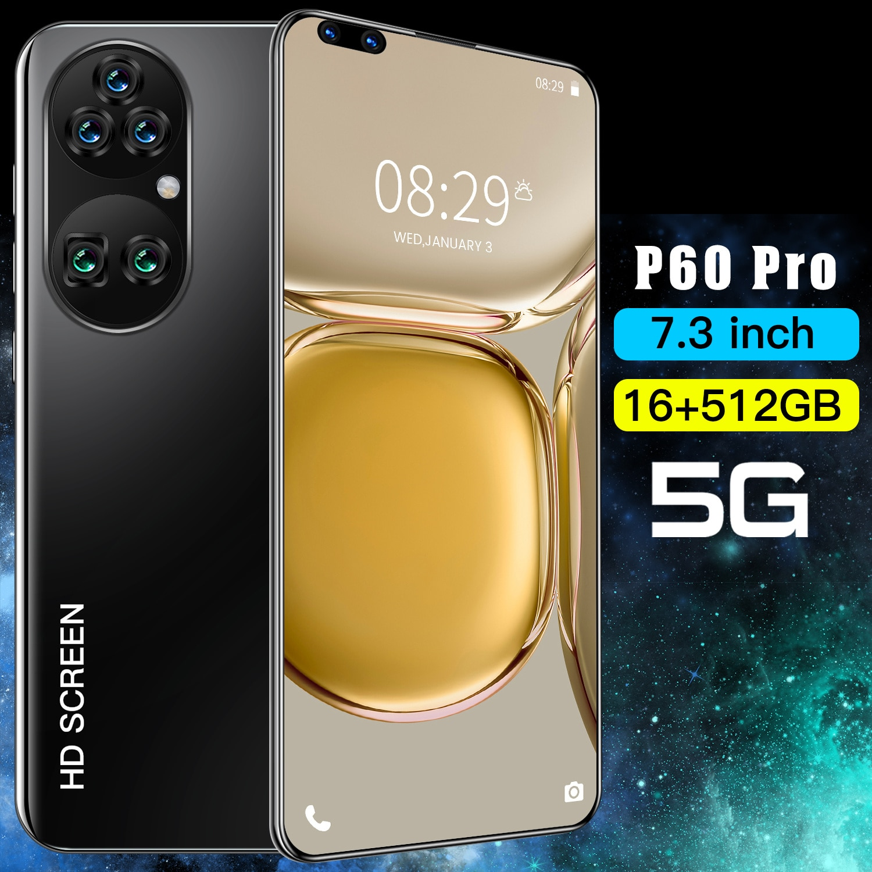 Fashion Mobile phone P60 PRO 7.3 Inch Water Drop Screen Android 11.0 Smartphone 16GB RAM 512GB ROM 40MP+48MP 5600mAh Dual Sim 5G enlarge