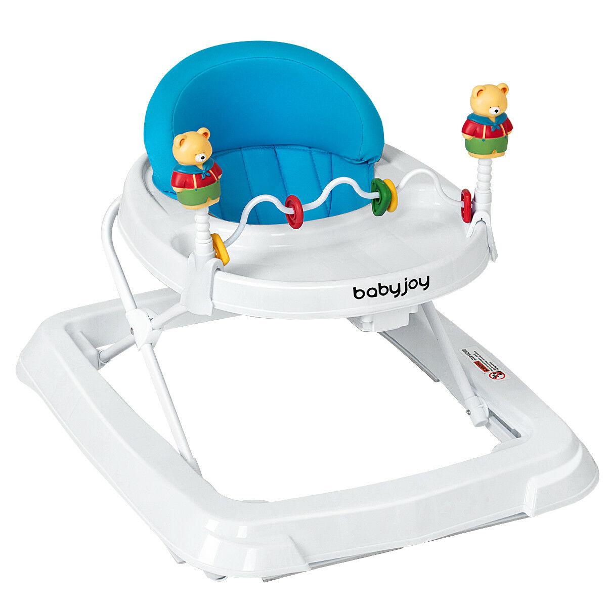 Andador portátil para bebés niños aprende a caminar carrito de juguete altura ajustable azul