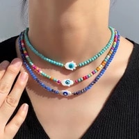 fashion evil eye beaded choker necklace for women multicolor acrylic glass round bead necklaces clavicle chain statement jewelry