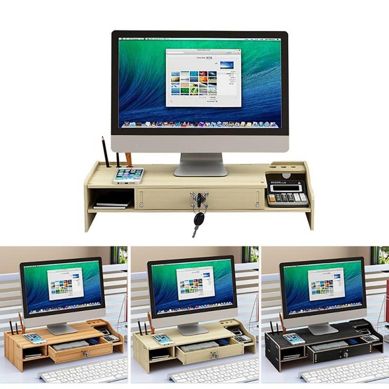 متعددة الوظائف الخشب كمبيوتر مكتبي حامل شاشة لوحة المفاتيح تخزين أصحاب شاشة الكمبيوتر الناهض المنزل محمول تخزين حامل