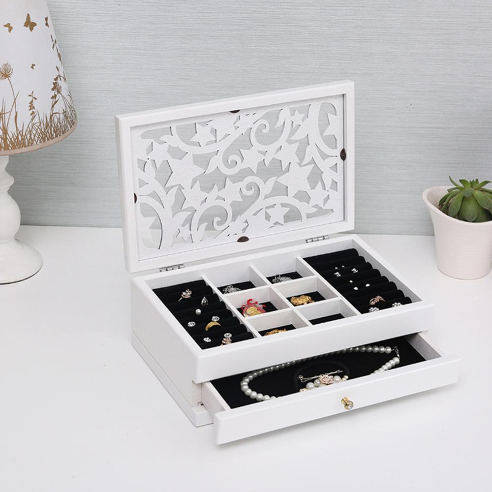 2 Layers Retro Wooden Drawer Ring Earring Jewelry Box with Hollow Carved Cover Makeup Case Organizer Women Jewelry Display Box