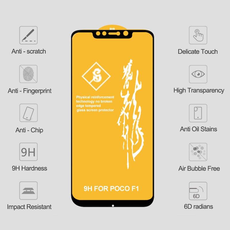 10 قطعة 6D الزجاج المقسى ل POCO X3 NFC حامي الشاشة POCO X3 سلامة الزجاج على شاومي Poco X3 NFC Pocophone F1 F2 برو