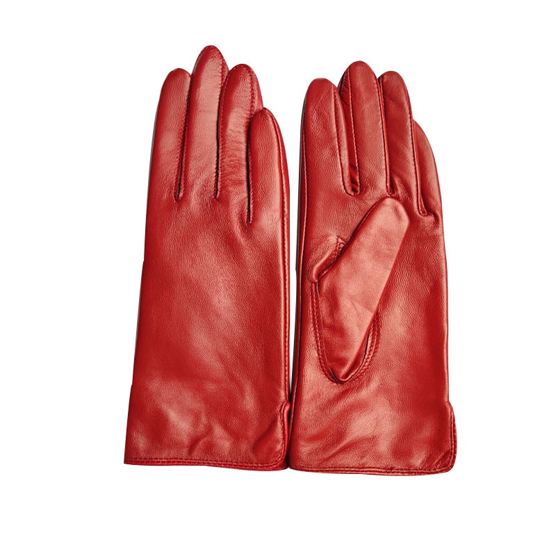 Зимние перчатки из овечьей кожи для женщин, разноцветные бархатные осенние и зимние женские перчатки из натуральной кожи