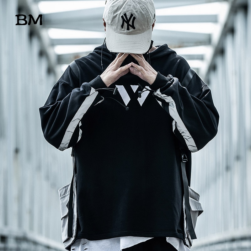 Alta calidad Mens sudaderas con capucha Hip Hop sudadera Exo Kpop coreano tira reflectante Sudadera con capucha 2019 Streetwear Ulzzang ropa oversized