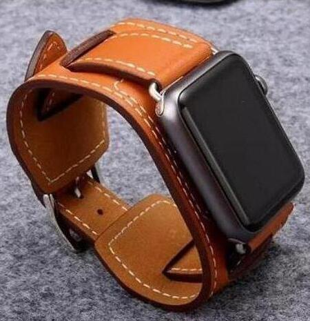 Genuine For Apple Watch band Buckle Cuff Leather Loop 42mm 38mm 40mm 44mm link bracelet For  strap series 5 6 se 4 3 2 1