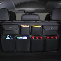 2020 new pu leather car rear seat back storage bag multi use car trunk organizer auto stowing tidying auto interior accessories