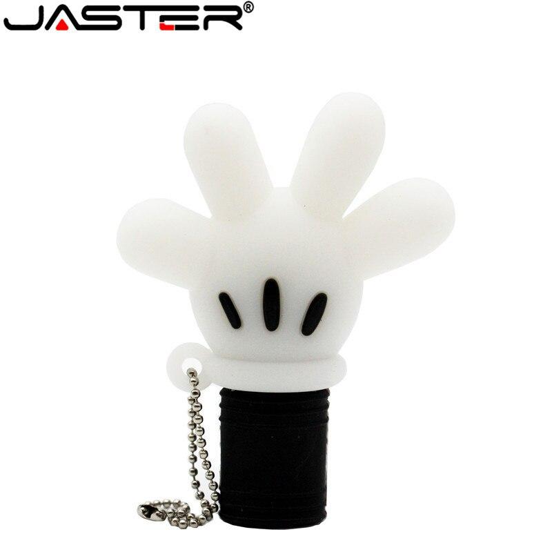 Usb-флешка JASTER с милым Микки-Маусом, перчатка, 4 ГБ, 8 ГБ, 16 ГБ, 32 ГБ, 64 ГБ